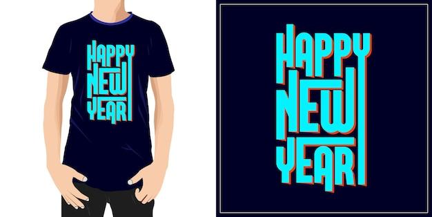 Szczęśliwego nowego roku projekt typografii gotowy do etykiety kubek lub drukowania premium wektorów