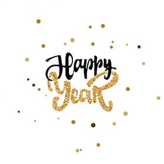 Szczęśliwego nowego roku ręcznie kaligrafii złota farba