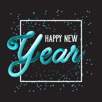 Szczęśliwego nowego roku ręcznie rysowane tło napis
