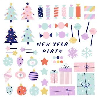 Szczęśliwego nowego roku rekwizyty na stoisku. sylwestrowa impreza. ilustracja do karty z pozdrowieniami, naklejki, t shirt, projekt plakatu.
