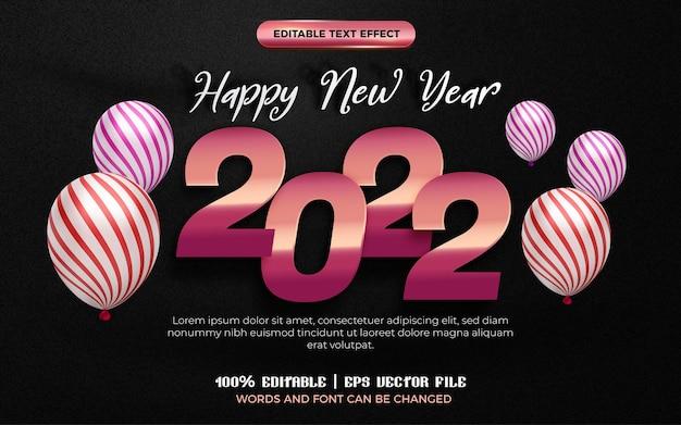 Szczęśliwego nowego roku różowe złoto błyszczący talerz 3d edytowalny szablon stylu efektu tekstowego