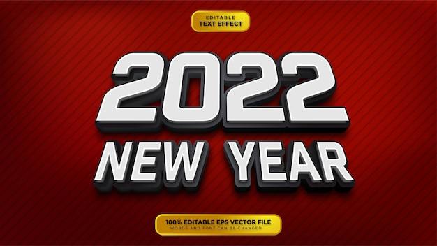 Szczęśliwego nowego roku srebrny czarny 3d edytowalny efekt tekstowy