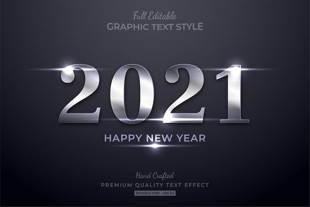 Szczęśliwego nowego roku srebrny połysk styl czcionki edytowalny efekt tekstowy
