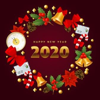 Szczęśliwego nowego roku symboliczny wieniec świąteczny na ziemi winnej