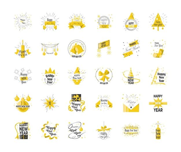 Szczęśliwego nowego roku szczegółowy styl 30 zestaw ikon, witamy świętować i powitać