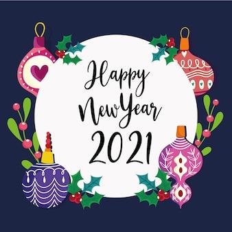 Szczęśliwego nowego roku tekst odręczny ozdoba kulki i znaczek ramki holly berry
