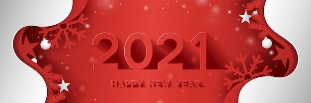 Szczęśliwego nowego roku tekst w stylu cięcia papieru i długi cień