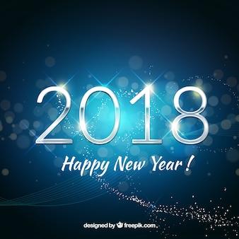 Szczęśliwego nowego roku tła 2018 w niebieskim dzwonka
