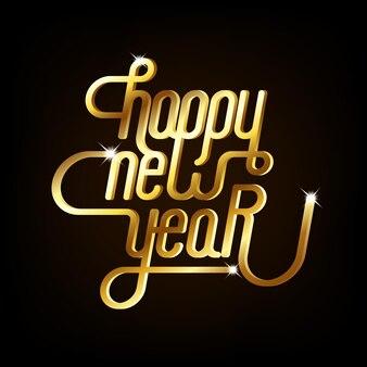 Szczęśliwego nowego roku tło dekoracyjne ze złotą typografią