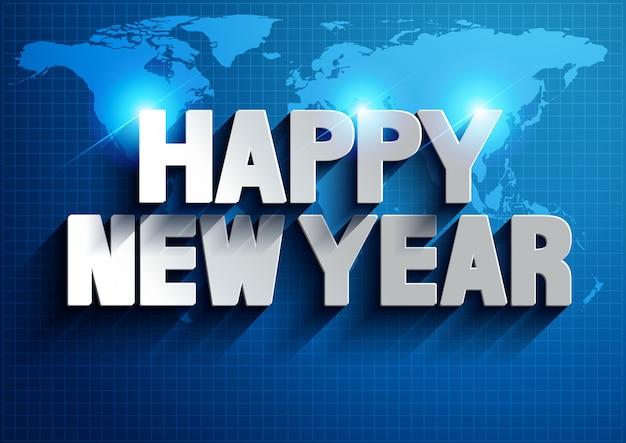 Szczęśliwego nowego roku tło mapy świata