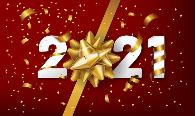 Szczęśliwego nowego roku tło wektor z kokardą złoty prezent i konfetti.