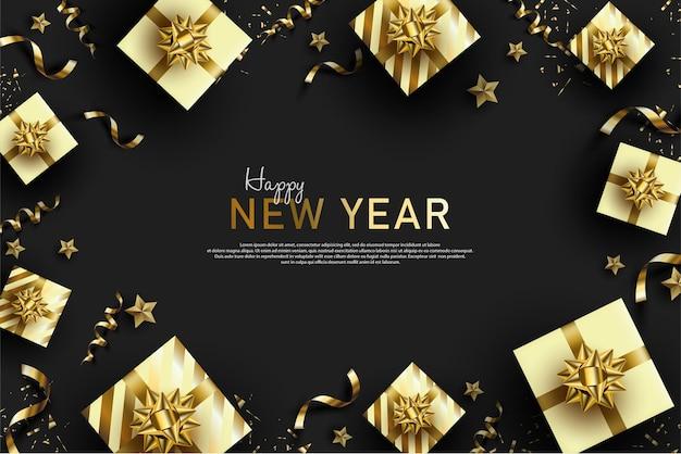Szczęśliwego nowego roku tło z 3d białym pudełkiem na prezent