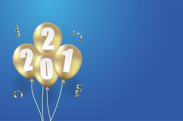 Szczęśliwego nowego roku tło z realistycznym balonem.