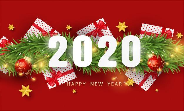 Szczęśliwego nowego roku tło z realistycznymi przedmiotami świątecznymi