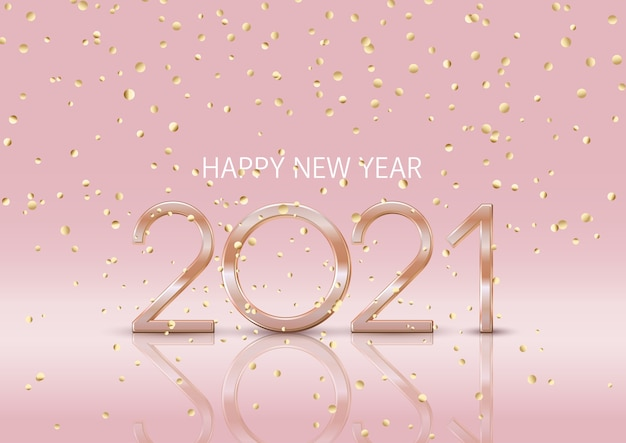 Szczęśliwego nowego roku tło z spadającymi złotymi konfetti