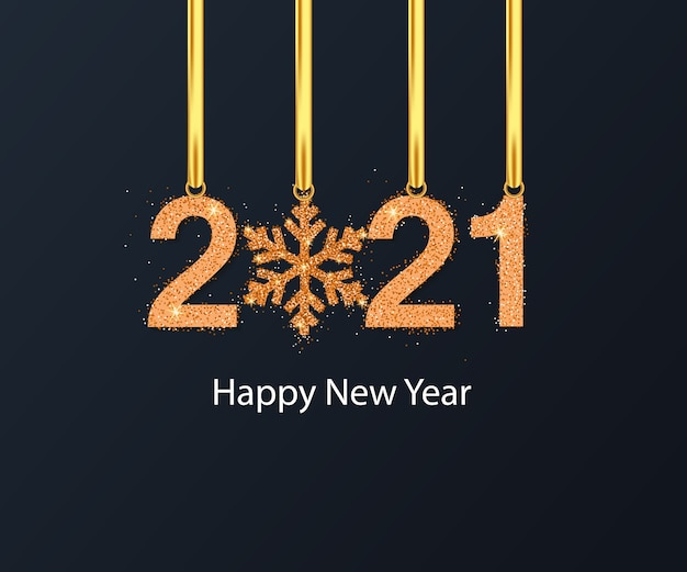 Szczęśliwego nowego roku tło z złoty płatek śniegu