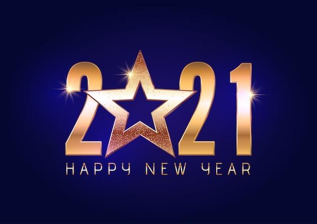 Szczęśliwego nowego roku tło ze złotym napisem i projekt gwiazdy