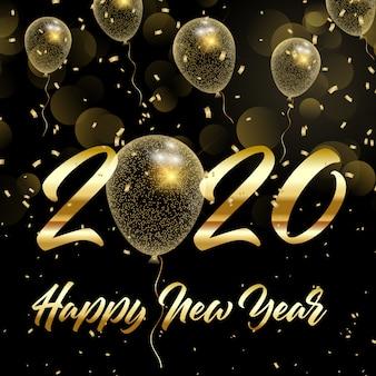 Szczęśliwego nowego roku tło ze złotymi balonami glittery