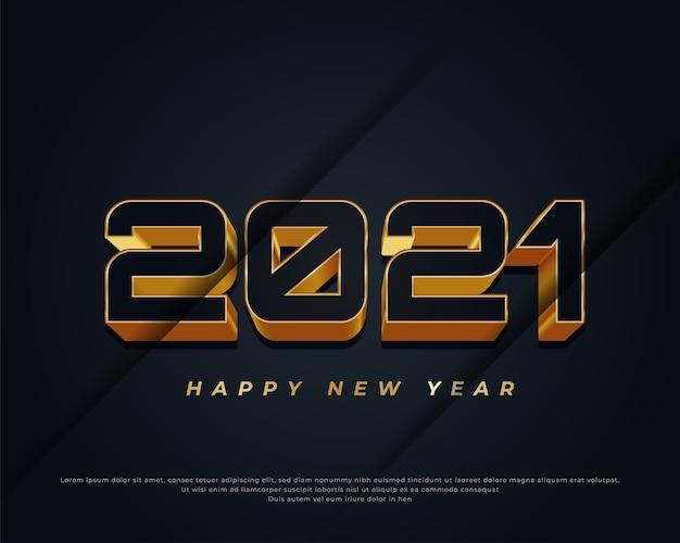Szczęśliwego nowego roku transparent z czarnym i złotym tekstem na ciemnym tle