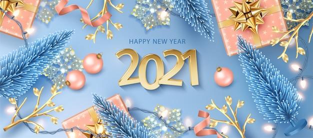 Szczęśliwego nowego roku transparent z realistycznymi złotymi liczbami
