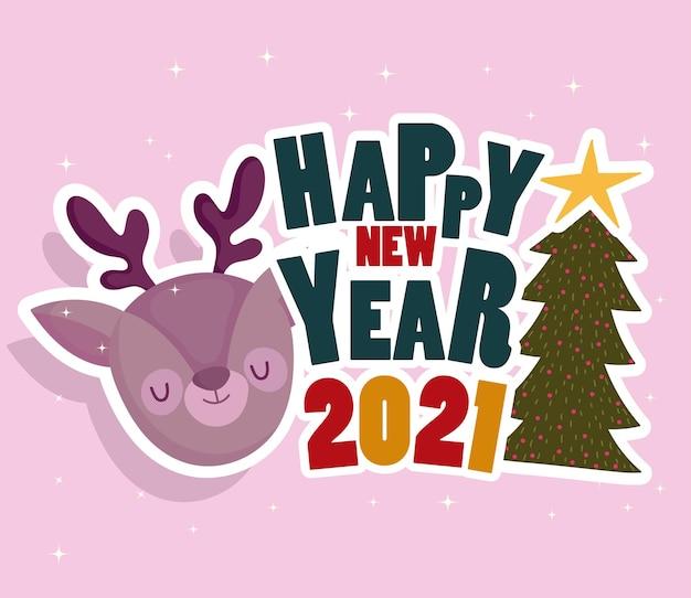 Szczęśliwego nowego roku twarz renifera i drzewo z kartą dekoracji sformułowania