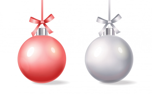 Szczęśliwego nowego roku, wesołych świąt, witaj zimę, realistyczna świąteczna piłka, kupuj teraz, sprzedaż transparentu, różowa i srebrna piłka na białym tle ilustracja