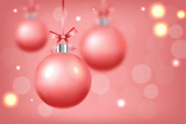 Szczęśliwego nowego roku, wesołych świąt, witaj zimę, realistyczna świąteczna piłka, sklep teraz, sprzedaż transparent, różowa piłka na białym tle ilustracja