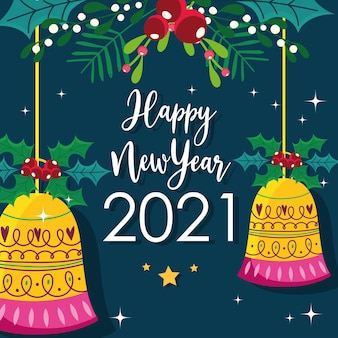 Szczęśliwego nowego roku wiszące dzwonki w kształcie kulek z dekoracją kwiatową liści
