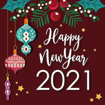 Szczęśliwego nowego roku wiszące kule holly berry i odręczna czcionka