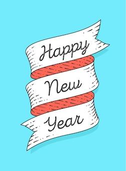Szczęśliwego nowego roku. wstążka transparent w stylu grawerowania z ilustracją tekstu