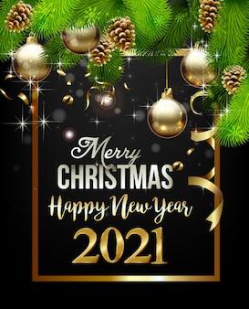 Szczęśliwego nowego roku z dekoracjami świątecznymi