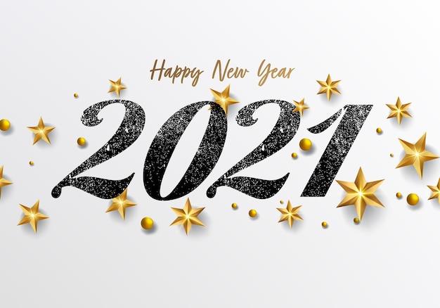 Szczęśliwego nowego roku z gwiazdami i kulkami