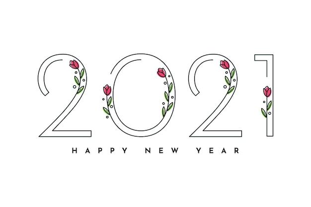Szczęśliwego nowego roku z kwiatami