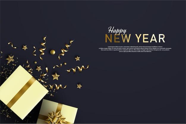 Szczęśliwego nowego roku z luksusowym złotym pudełkiem i wstążką