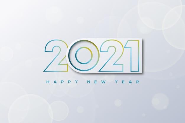 Szczęśliwego nowego roku z numerami zegarów i bokeh