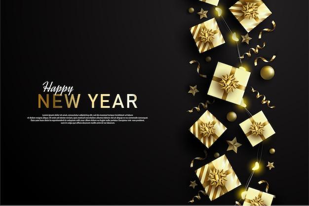 Szczęśliwego nowego roku z pudełkami prezentowymi rozłożonymi po lewej stronie