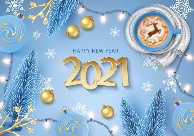 Szczęśliwego nowego roku z realistycznymi złotymi cyframi i filiżanką kawy zawiniętą w dzianinowy szal