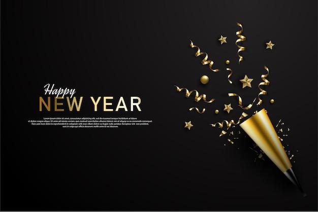 Szczęśliwego nowego roku z rozrzuconą złotą wstążką