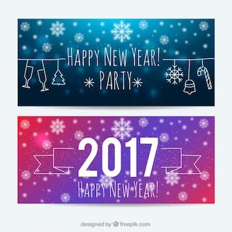 Szczęśliwego nowego roku z transparentami płatki śniegu