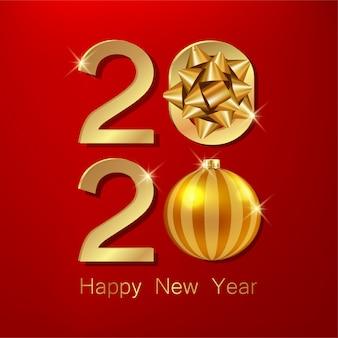 Szczęśliwego nowego roku ze złotą kulą