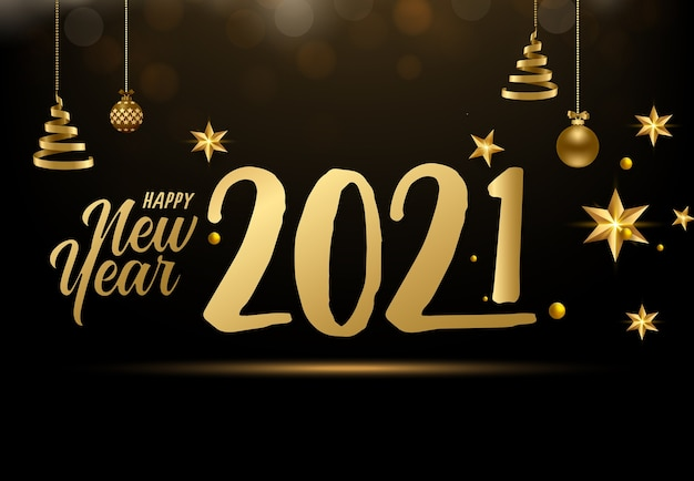 Szczęśliwego nowego roku ze złotymi numerami i elementami świątecznymi