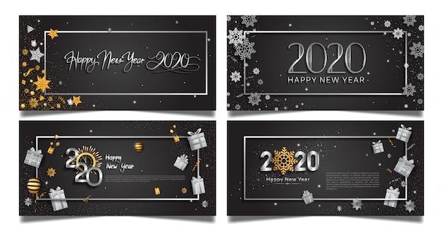 Szczęśliwego nowego roku zestaw szablonów