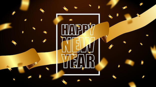 Szczęśliwego nowego roku złota wstążka tło wektor