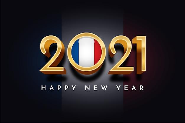 Szczęśliwego nowego roku złoto z flagą francji