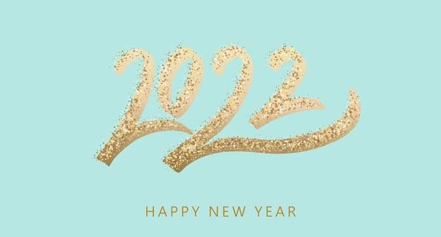 Szczęśliwego nowego roku złoty tekst z jasnymi błyskami na niebieskim tle plakat