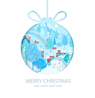 Szczęśliwego nowego roku życząc wesołych świąt z zimowym krajobrazem