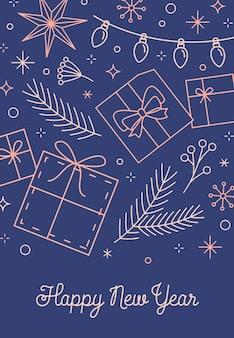 Szczęśliwego nowego roku życzy szablon karty z pozdrowieniami. modne prezenty, gałęzie jodły liniowa ilustracja z kaligrafią. eleganckie gratulacje na niebieskim tle dla układu pocztówki czasu bożego narodzenia.