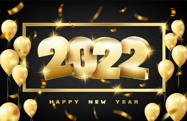 Szczęśliwego nowego roku2022. wakacyjna ilustracja wektorowa złotych metalicznych liczb 2022