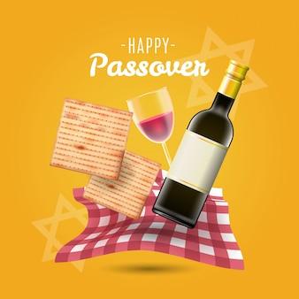 Szczęśliwego paschy tła tradycyjny matzo i wino
