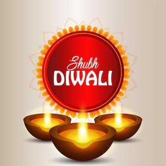 Szczęśliwego święta diwali z życzeniami z okazji obchodów światła z diwali diya